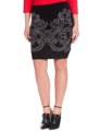 Studio Mirror Print Embroidered Skirt Black