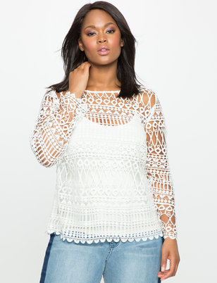 Long Sleeve Geometric Lace Top