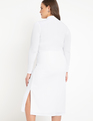 Turtleneck Dress with Cutout White