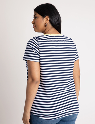 Contrast Band Stripe Tee