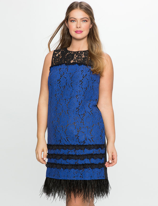Lace Dress with Feather Detail | Women\'s Plus Size Dresses | ELOQUII