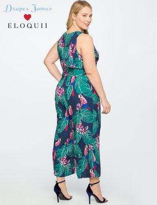 Draper James for ELOQUII Parrot Print Jumpsuit