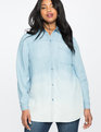 Color Blocked Chambray Oxford Shirt Light Wash
