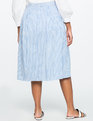 Striped Side Tie Midi Skirt Blue/White
