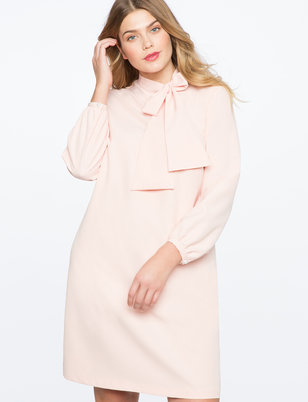 Tie Collar Easy Dress