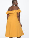 Off the Shoulder Ruffle Dress Macaw Yellow