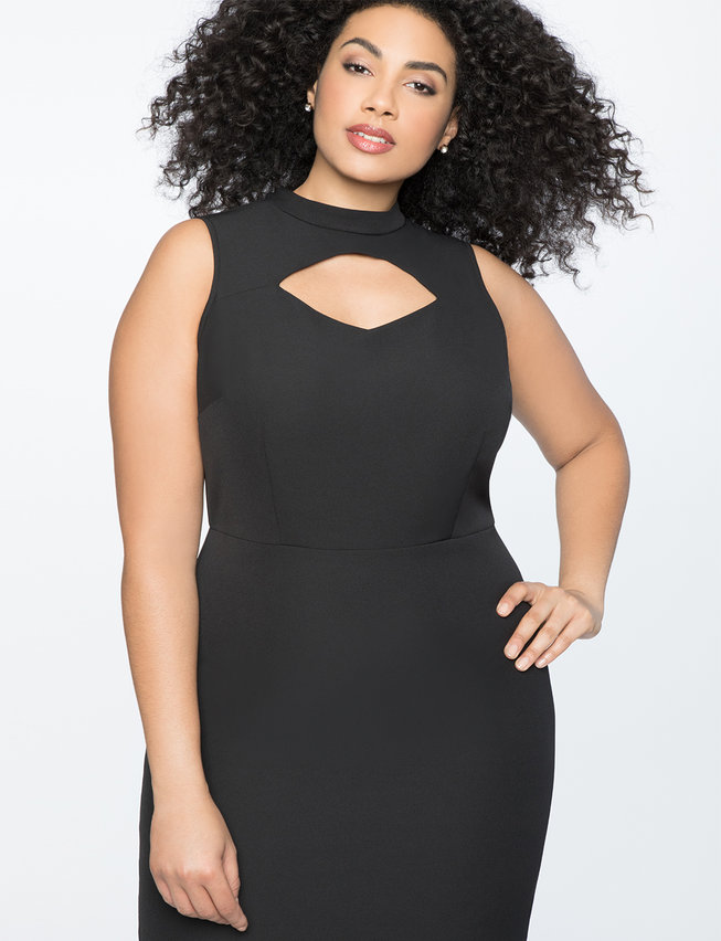Cutout Neckline Mockneck Dress