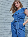 One Shoulder Denim Jumpsuit with Ruffle Light Wash
