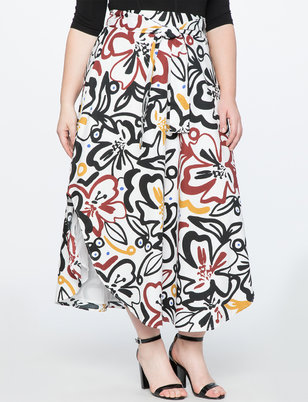 Asymmetrical Hem Printed Skirt with Tie