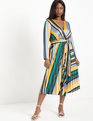 Sunburst Pleated Midi Dress Stripe