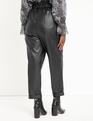 Ruffle Waist Vegan Faux Leather Pant Black