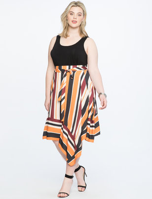 Opposing Stripes Wrap Skirt