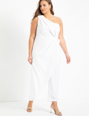 One Shoulder Jumpsuit With Skirt