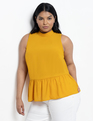 Tie Back Peplum Top Golden Glow