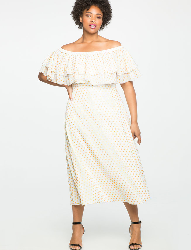 Studio Off the Shoulder Double Ruffle Gown
