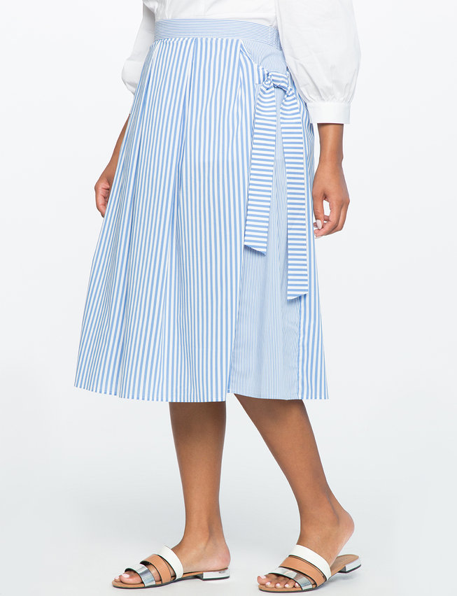 Striped Side Tie Midi Skirt