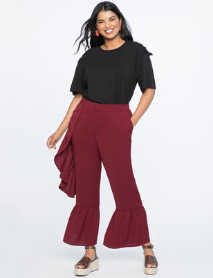 Asymmetric Ruffle High Waisted Trouser
