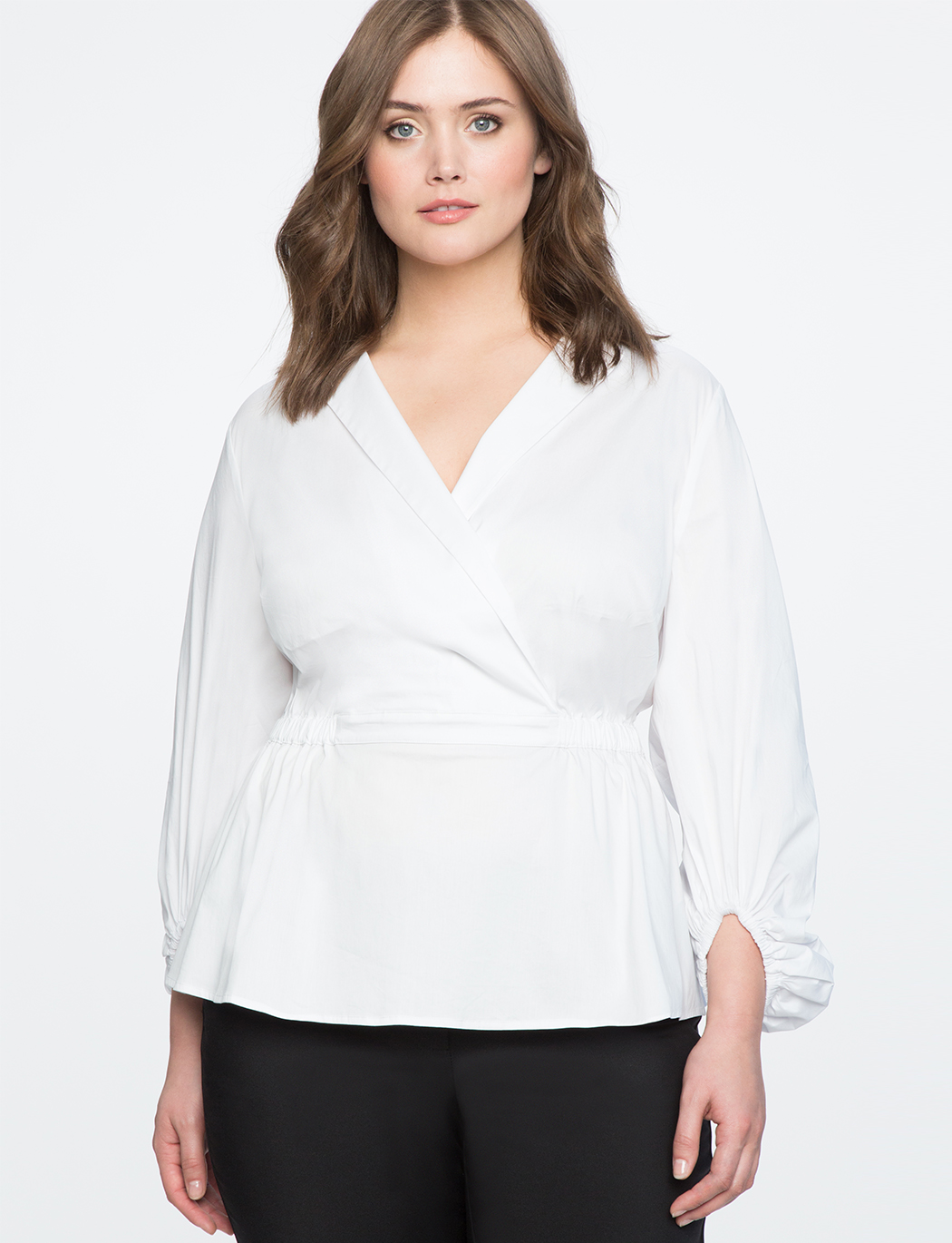 e84a67fbaed Wrap Front Puff Sleeve Top