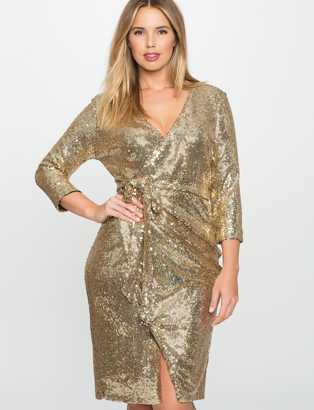 Studio Sequin Wrap Dress