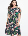 Printed Dress with Lace Up Shoulder Detail BIRDS OF PARADISE