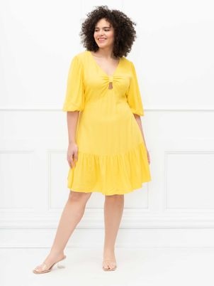 ELOQUII Elements Knot Front Dress With Flounce