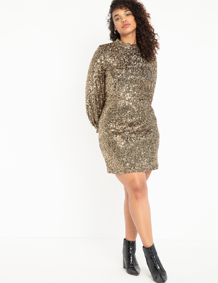 Mock Neck Sequin Dress With Puff Sleeve