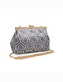 Geometric Sequin Clutch Pewter