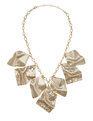 Wavy Metal Statement Necklace Gold