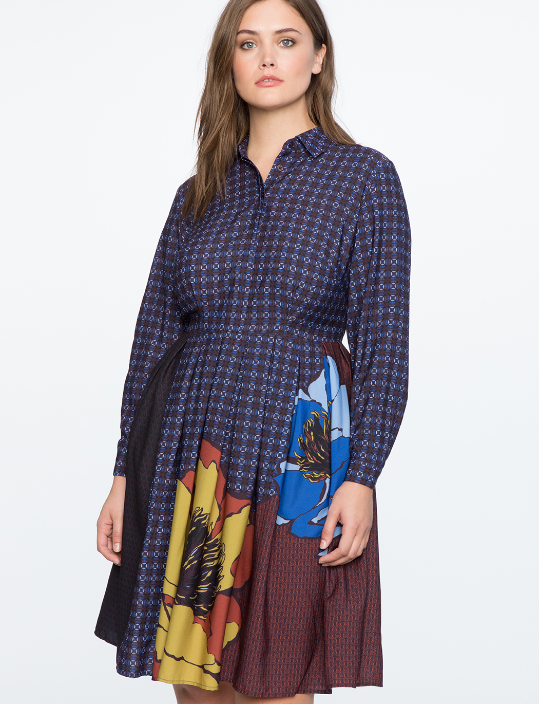 b3885644743 Printed Shirtdress with Pleated Skirt