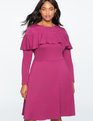 Flounce Overlay Fit and Flare Dress Purple Potion