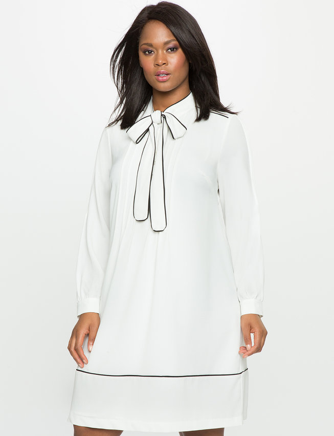 Soft Shirt Dress with Piping | Women\'s Plus Size Dresses | ELOQUII