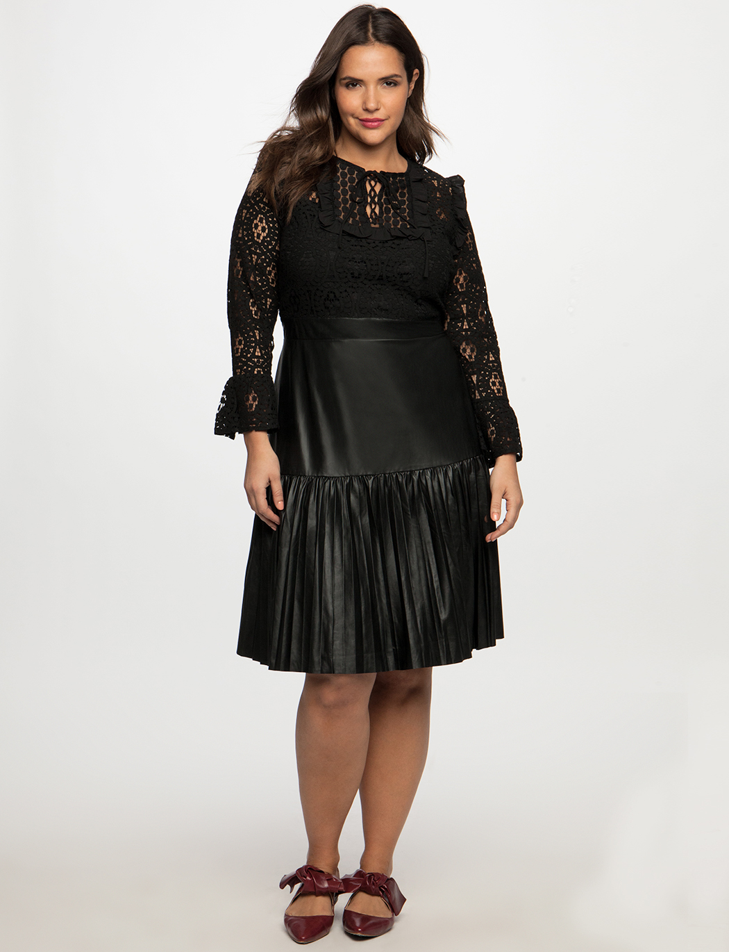 7e63cd34820 Lace Dress with Pleated Faux Leather Skirt