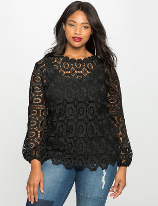 Studio Long Sleeve Crochet Lace Blouse