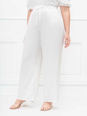 ELOQUII Elements Wide Leg Pant With Tie