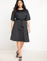 Tie Waist Shift Dress Black