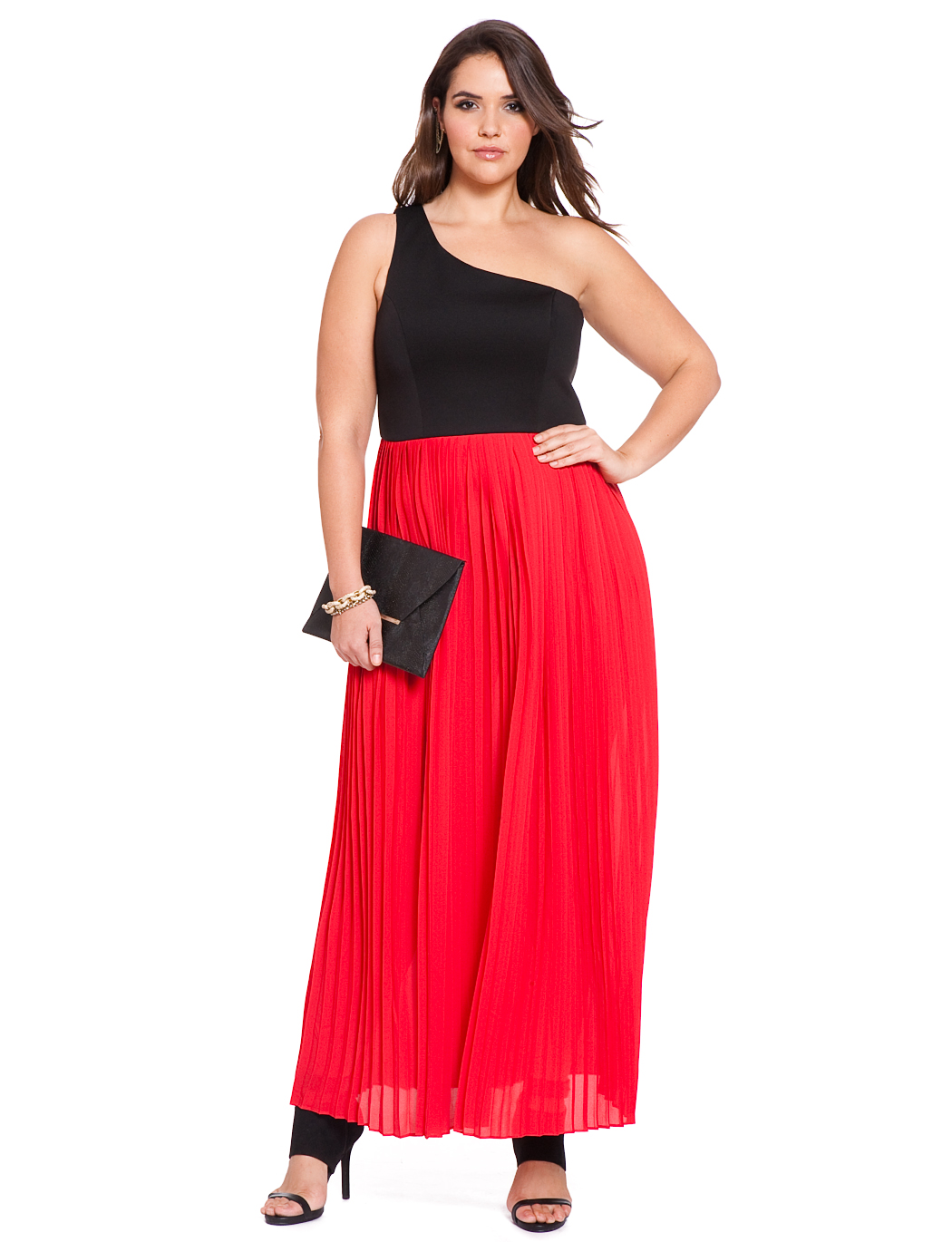 Studio One Shoulder Pleated Gown Womens Plus Size Dresses Eloquii