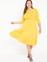 Boat Neck Dress With Back Detail Yellow