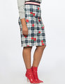 Neoprene Pencil Skirt Plaid Flower