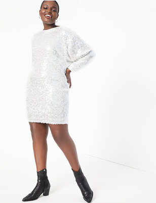 Long Sleeve Sequin Easy Dress