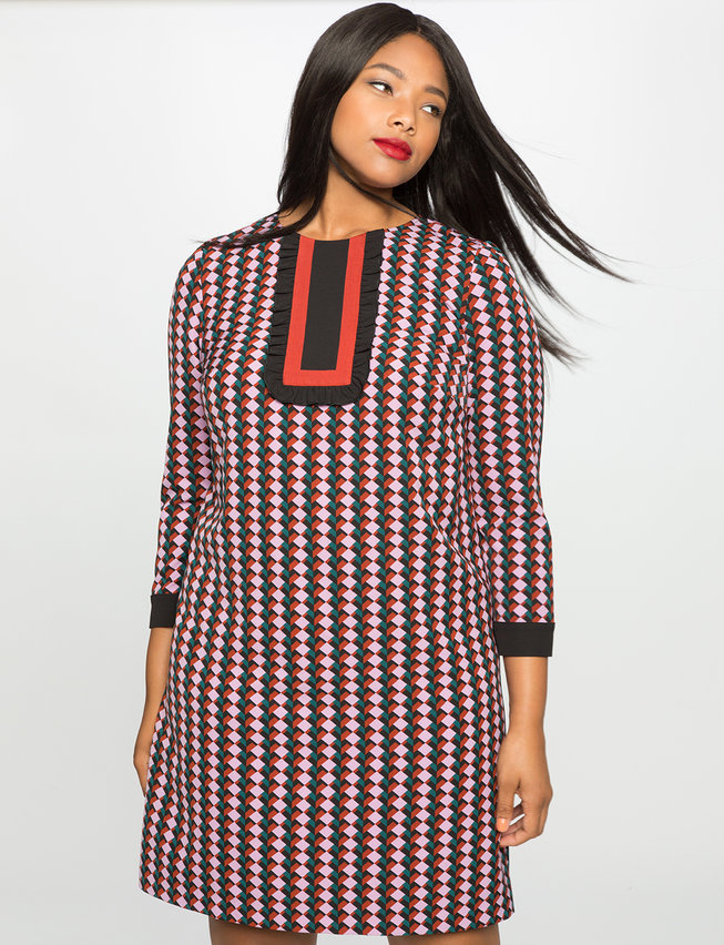 Printed Bib Long Sleeve Dress