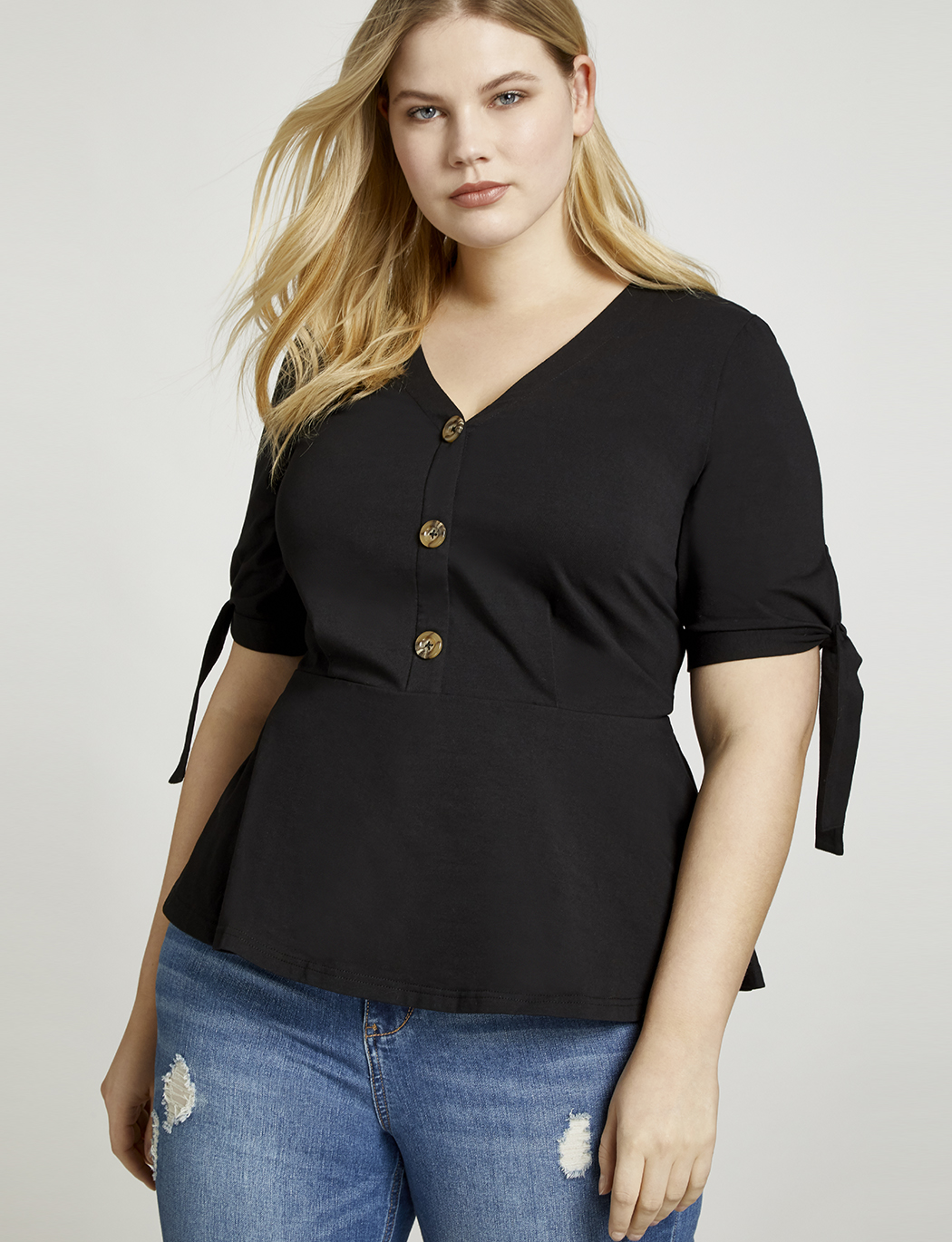 1bfb8d6bba Tie Sleeve Button Down Blouse | Women's Plus Size Tops | ELOQUII