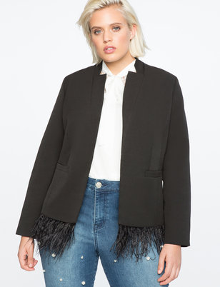 Feather Trim Blazer
