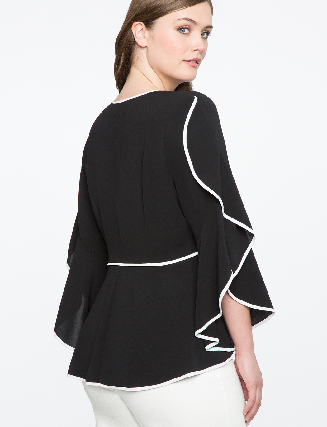 V-Neck Cascading Sleeve Top