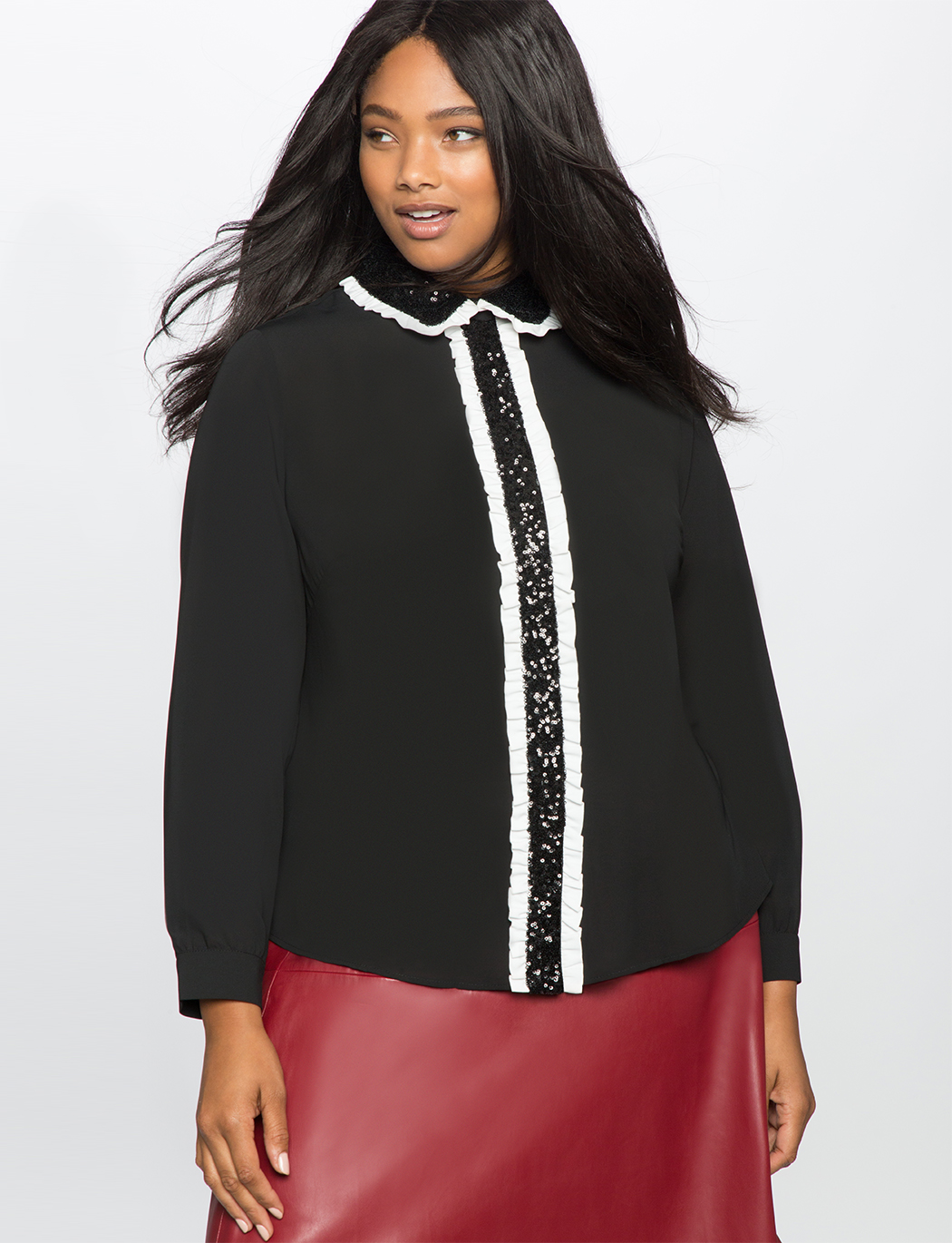Studio Ruffles and Sequins Pleat Front Blouse