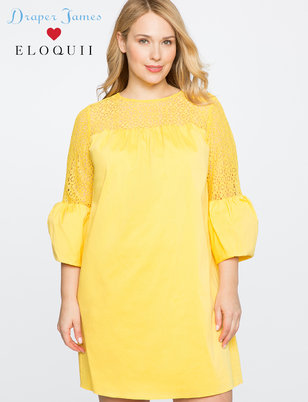 Draper James for ELOQUII Lace Yoke Shift Dress