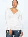 Center-Ruched Long Sleeve Top Soft White