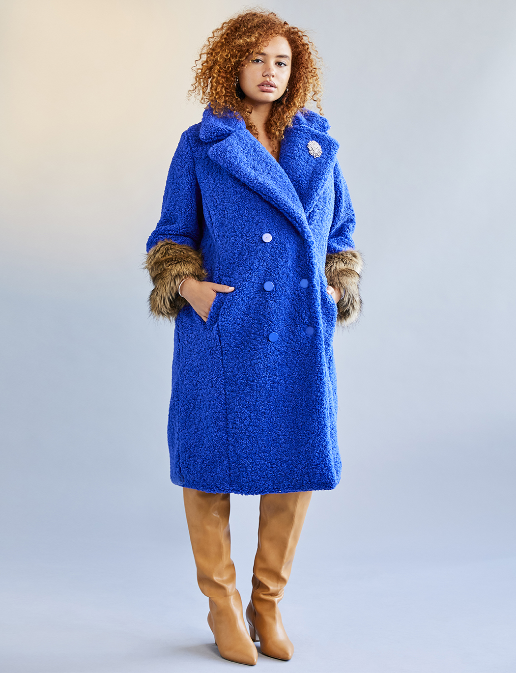 Boucle Coat With Fur Cuffs