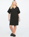 Layered Flutter Sleeve Easy Tee Dress BLACK