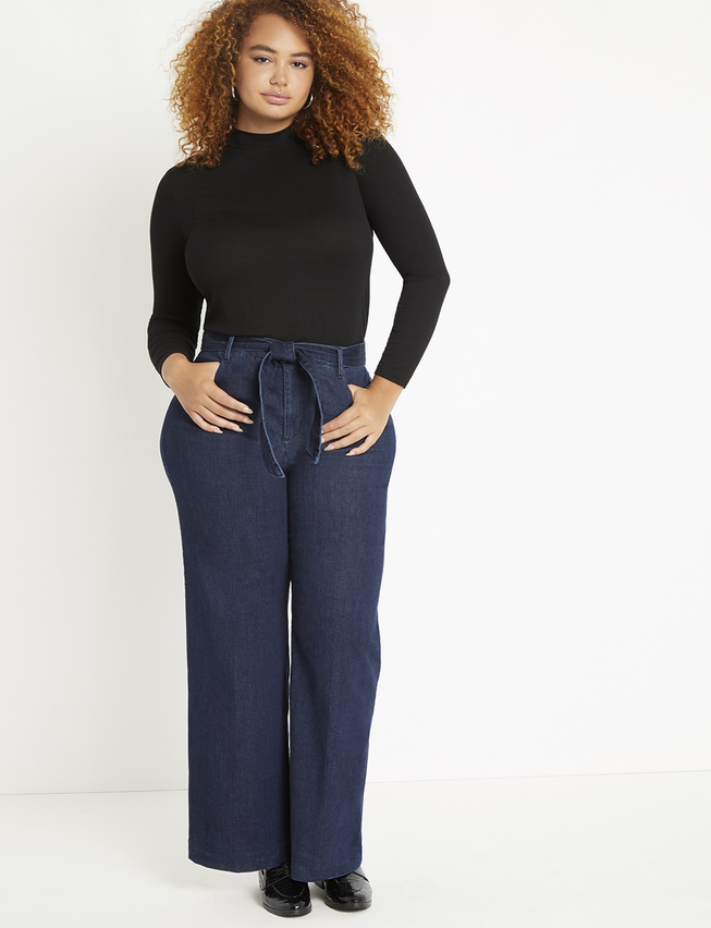 Classic Fit Belted High Rise Wide Leg Denim