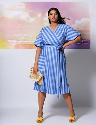Striped Kimono Sleeve Tie Waist Dress